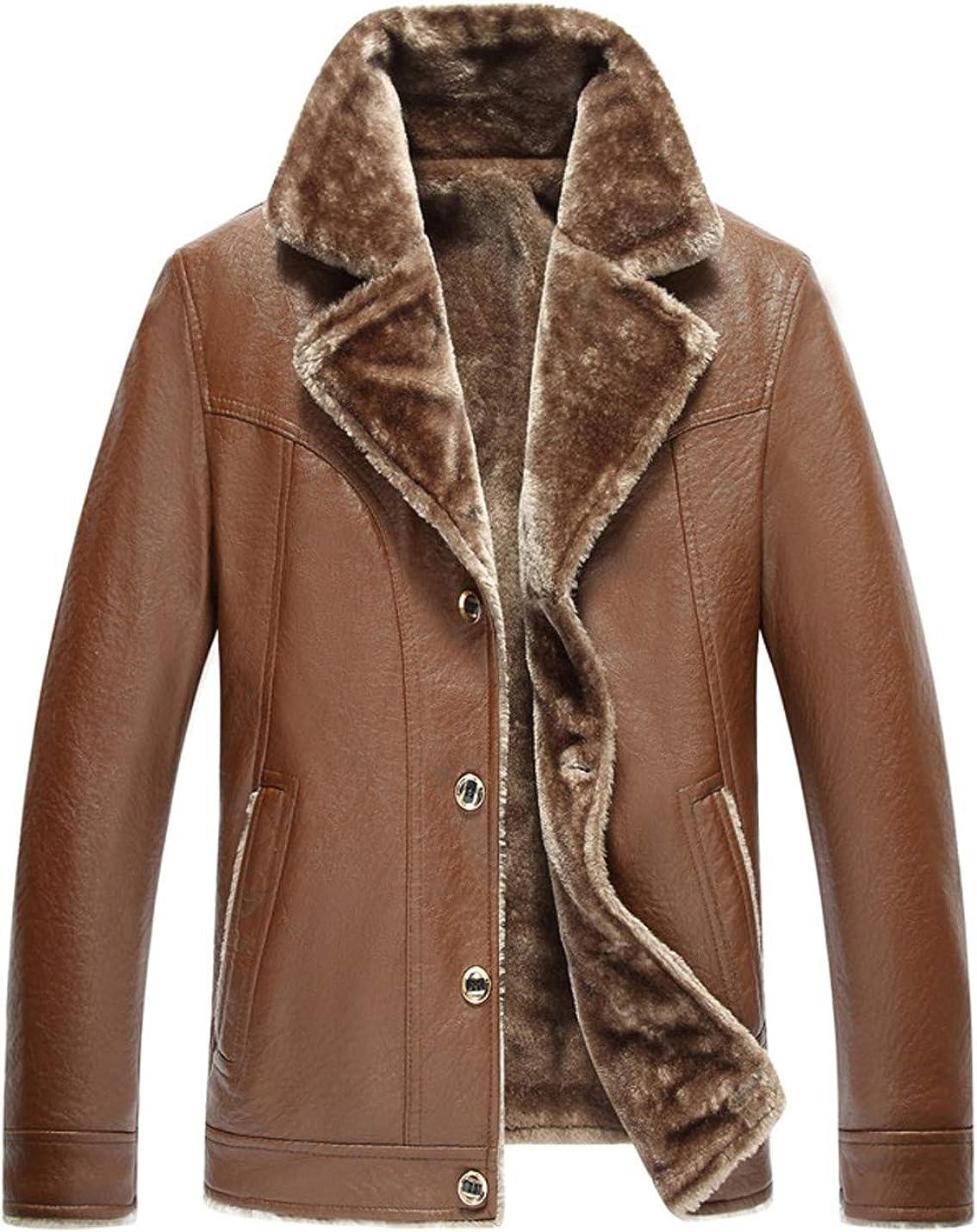 Gihuo Men's Winter Warm Fleece Lined PU Leather Moto Biker Jacket