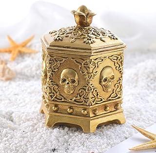 صندوق مجوهرات على شكل جمجمة عتيقة من أرولا، صندوق مجوهرات برأس هيكل عظمي ذهبي لتنظيم المكتب المنزلي
