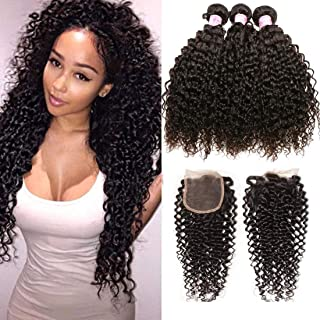 Beauty Forever Malaysian Curly Hair 3 Bundles with Lace Closure Free Part 4x4 Unprocessed Curly Virgin Human Hair Weave Natural Color (14 16 18 +12 Closure)