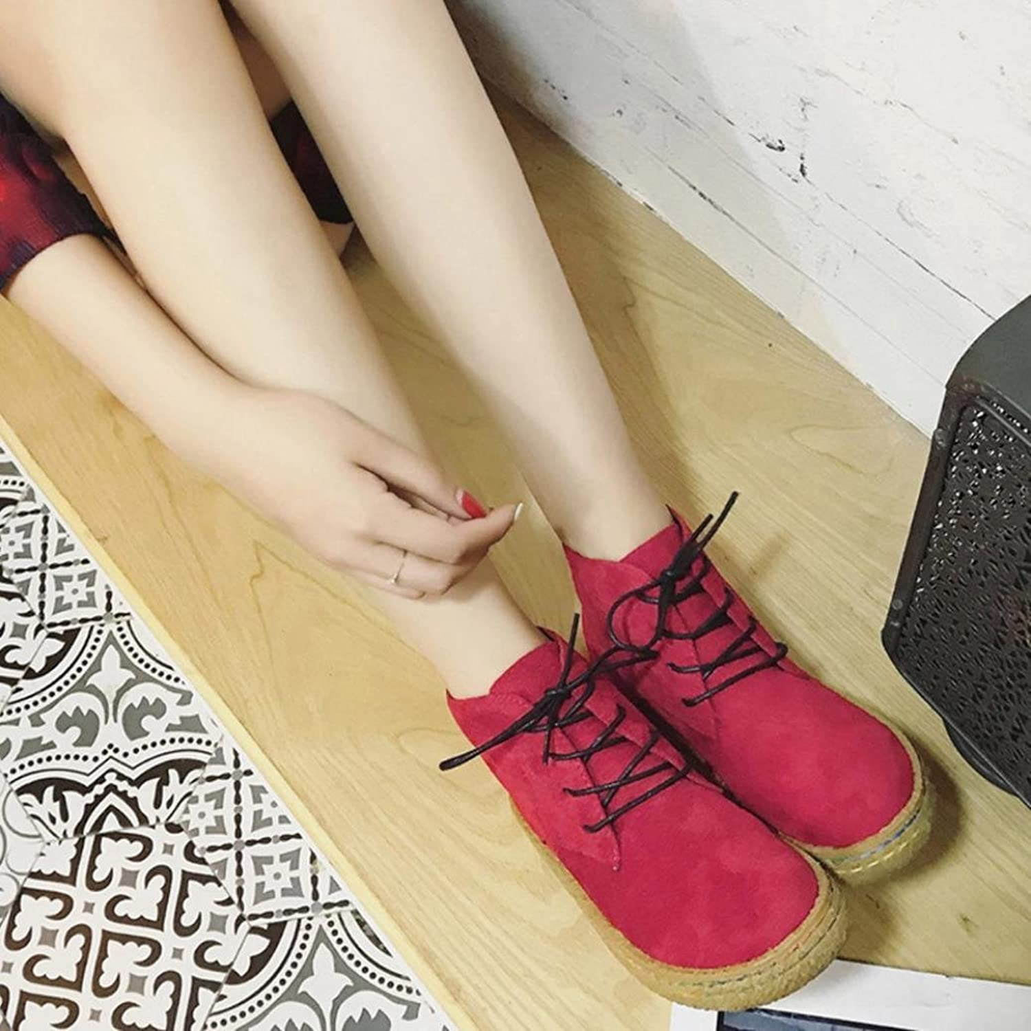 Sothingoodly Nice 2018 Women Winter Fashion Suede Leather Lace-Up Boots Soft Flat Ankle Martin shoes