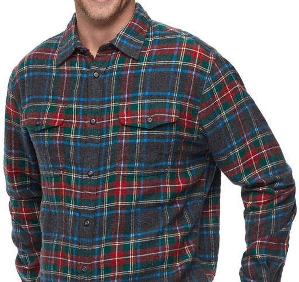 Sonoma Mens Classic Fit Soft Flannel Shirt Red Blue Tartan Plaid