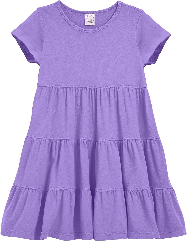 City Threads Girls Super Soft Cotton Short Sleeve Tiered Summer Dress Party Play