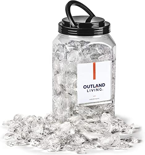 new arrival Outland Living Tempered Fire Glass Rocks 1/2-3/4 inch | Fire Pit Pellets sale for online sale Indoor and Outdoor Natural or Propane Fireplaces, Fire Bowls | 10 Pound Jar (Arctic Ice) outlet sale