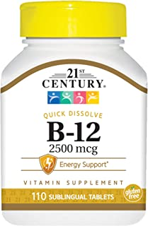 21st Century B 12 2500 mcg Sublingual Tablets, 110 Count