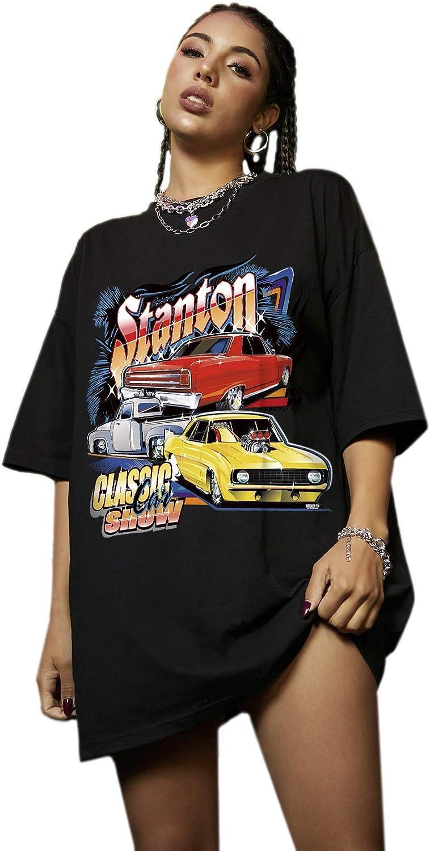 Romwe Women's Vintage Car Print Short Sleeve Oversized T Shirt Round Neck Tee Tops