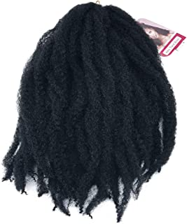 Coolbers 18 Inch Black Marley Hair Crochet Braids Afro Kinky Curly Hair Extensions Synthetic Marley Braids Jerry Curls Crochet Hair (18 Inch, 1B)