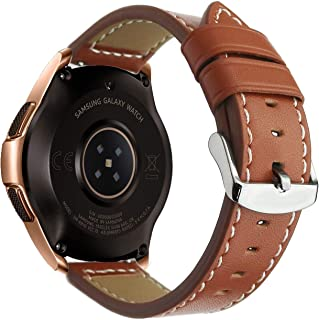 OTOPO for Galaxy Watch 42mm Bands/Galaxy Watch Active Bands/Active 2 (40mm 44mm) Band/Gear Sport Bands/Vivoactive 3 Band 20mm Quick Release Leather Wrist Bands for Women Men Smartwatch (Brown, 20mm)