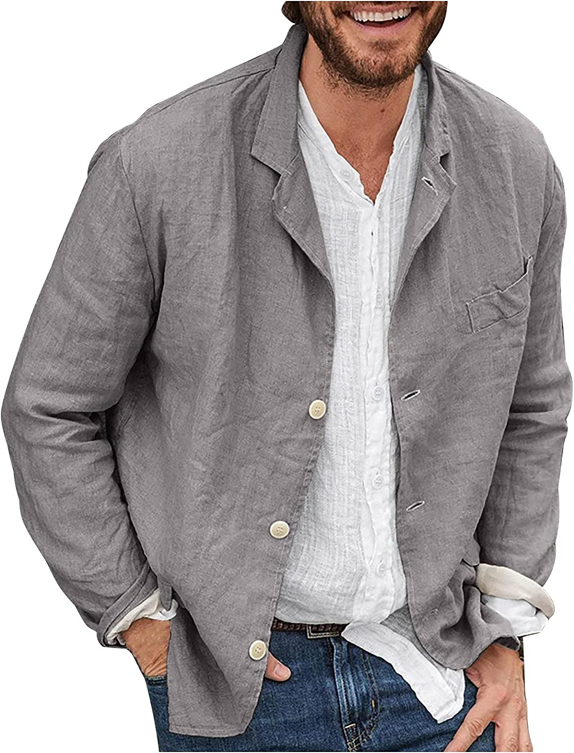 shipfree BUYYA Men's Solid Color Loose Everyday store Comfortable Jacket Casual