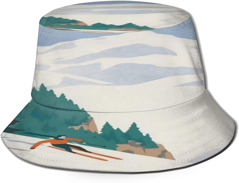 ski Bucket Hat Unisex Sun Hat Summer Packable Fisherman Hats Black
