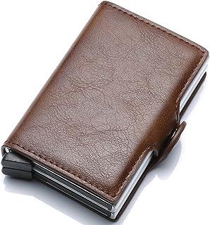 Ultra-thin RFID blocking wallet secure credit card wallet Credit Card Holders (brown)