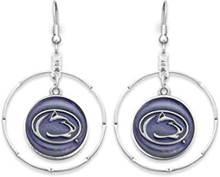 FTH Penn State Nittany Lions Silver Tone Fishhook Earrings with Round Team Logo Charm Inside Silver Tone Ring