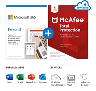 Microsoft 365 Personal 1 Year / 1 User subscription + McAfee 1 device Total Protection Antivirus - for PC, Smartphone and ...