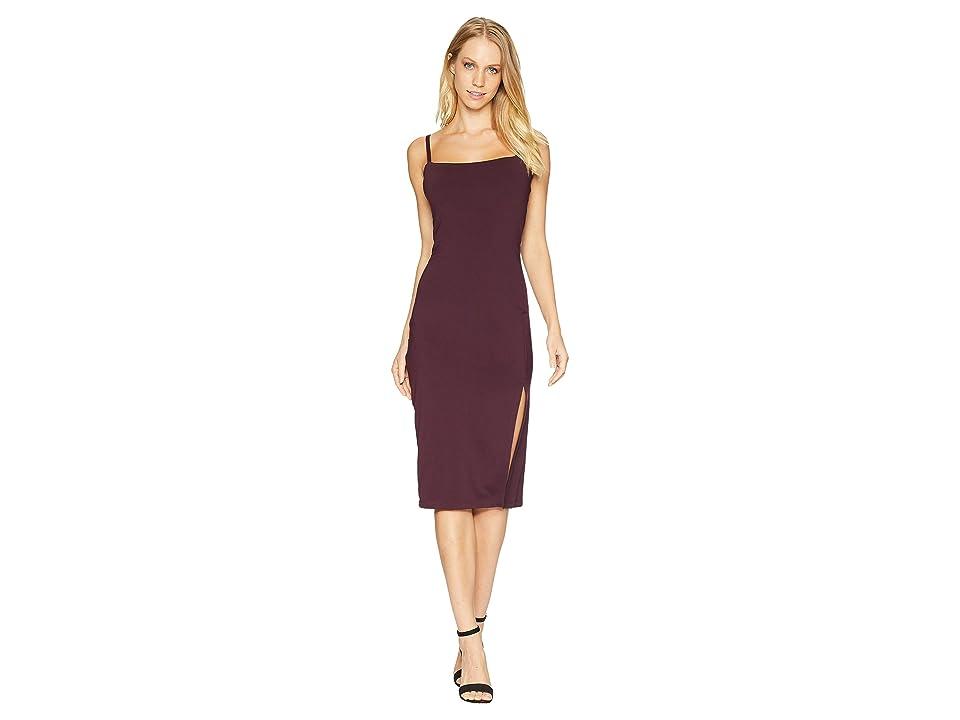 Susana Monaco Thin Strap Slit Dress (Bordeaux) Women