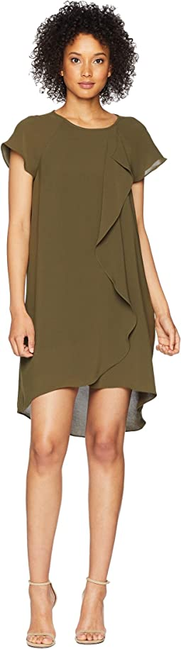 Gauzy Crepe Corkscrew Drape Shift Dress with Short Sleeves