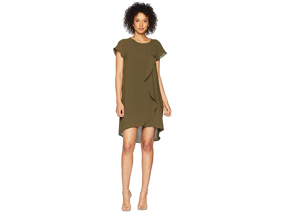 Adrianna Papell Gauzy Crepe Corkscrew Drape Shift Dress with Short Sleeves (Olive) Women
