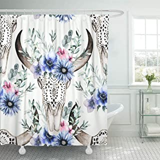 Emvency Shower Curtain Waterproof Decorative 72 x 72 inches Watercolor Bull's Head with Flowers and Herbal Ornamental Skull on White Set with Hooks Bathroom Curtain