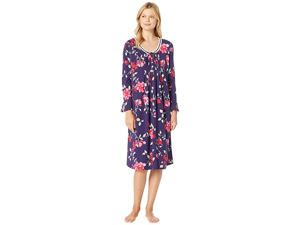 Carole Hochman Long Sleeve Long Nightgown (Large Red Floral) Women