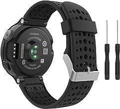 MoKo Garmin Forerunner 235 Watch Band, Soft Silicone Replacement Watch Band for Garmin Forerunner 235/235 Lite / 220/230 / 620/630 / 735XT - Black & Black