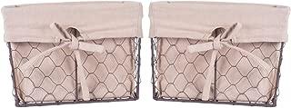DII Vintage Chicken Wire Basket Removable Fabric Liner, Set of 2, Natural