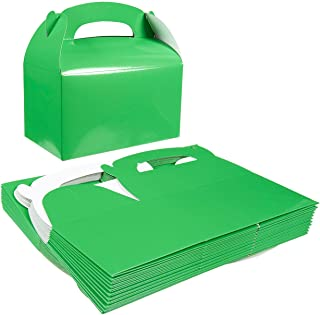 Pack of 24 Paper Treat Boxes - Gable Favor Boxes - Fun Party Play Goodie Boxes - 2 Dozen Bright Green Birthday Party Shower Loot Gift Boxes - 24 Count - 6.2 x 3.5 x 3.6 Inches