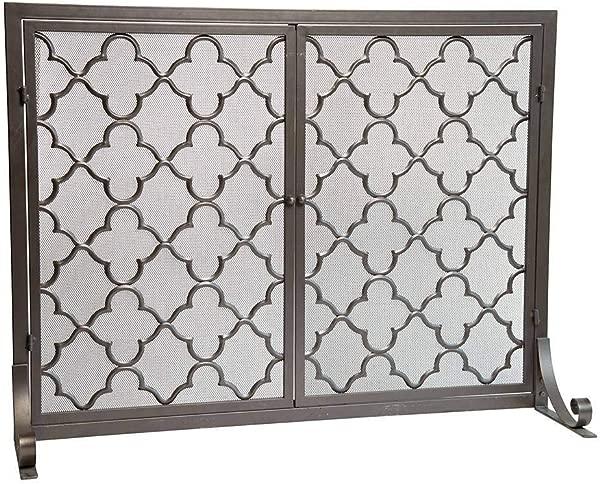 Small Geometric Screen With Doors 38 W X 31 H In Bronze Renewed