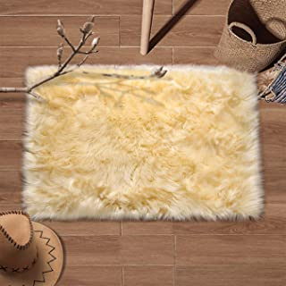 YJ.GWL Super Soft Faux Fur Area Rug (2'x3') for Bedroom Sofa Living Room Fluffy Bedside Rugs Home Decor, Beige Rectangle