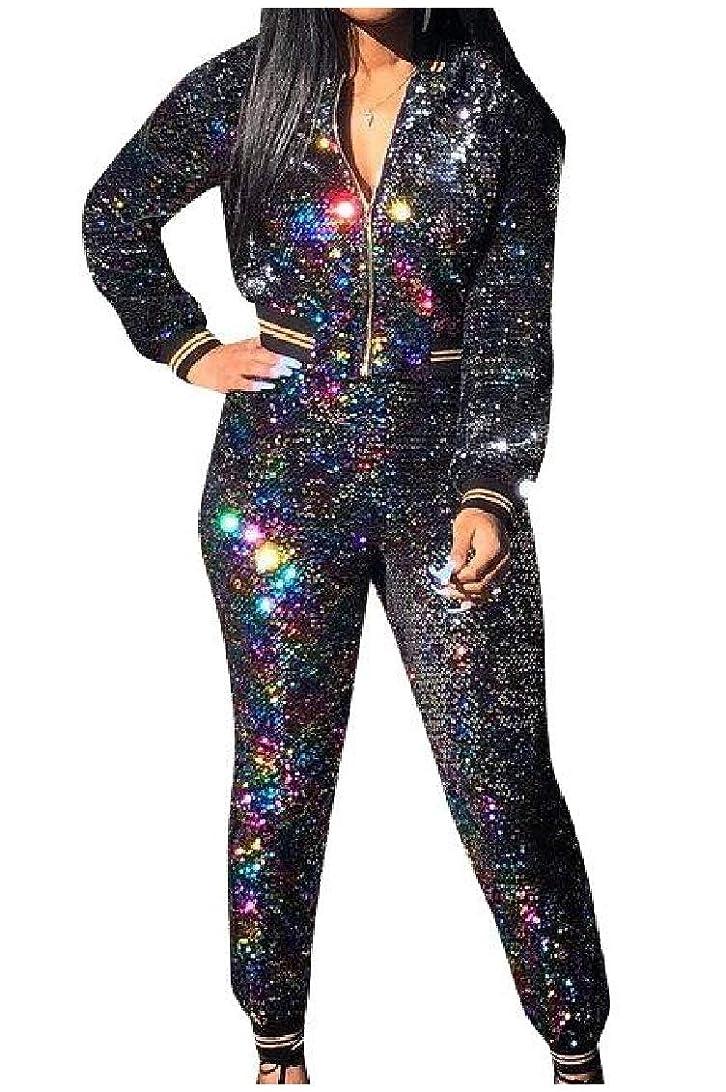 化学者メンタルグローGodeyesW 女性はスパンコールカジュアルトップトップスジャケットとスウェットパンツのアウトをズボン