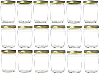Nakpunar 18 pcs 6 oz Honey Pot Glass Jars with Gold Lids - MADE IN USA - Globe, Spherical (6 oz - Honey Pot, Gold)