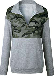 Long Sleeve High Neck Zipper Army Military Camo Camouflage Sweatshirt Pullover T-Shirt Top