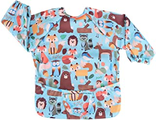 Luxja Baby Waterproof Sleeved Bib, Long Sleeve Bib for Toddler (6-24 Months), Forest Party