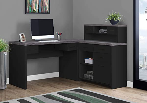 Monarch Specialties Computer Desk L Shaped Left Or Right Set Up Corner Desk With Hutch 60 L Black Grey Top