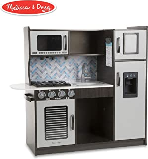 """Melissa & Doug Wooden Chef's Pretend Play Toy Kitchen With """"Ice"""" Cube Dispenser, Easy to Assemble, Charcoal, 39"""