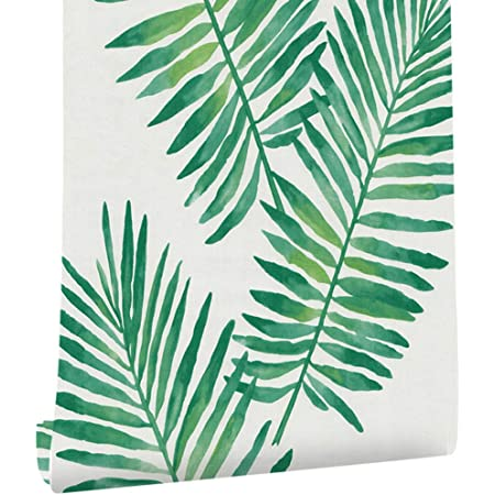 Magicvalley Película de Vinilo autoadhesiva Decorativa Hawaiana Tropical Palm Shelf Liner Etiqueta de Muebles Papel Tapiz de Papel para Paredes Gabinetes Tocador Cajón Armario 45CMX3M