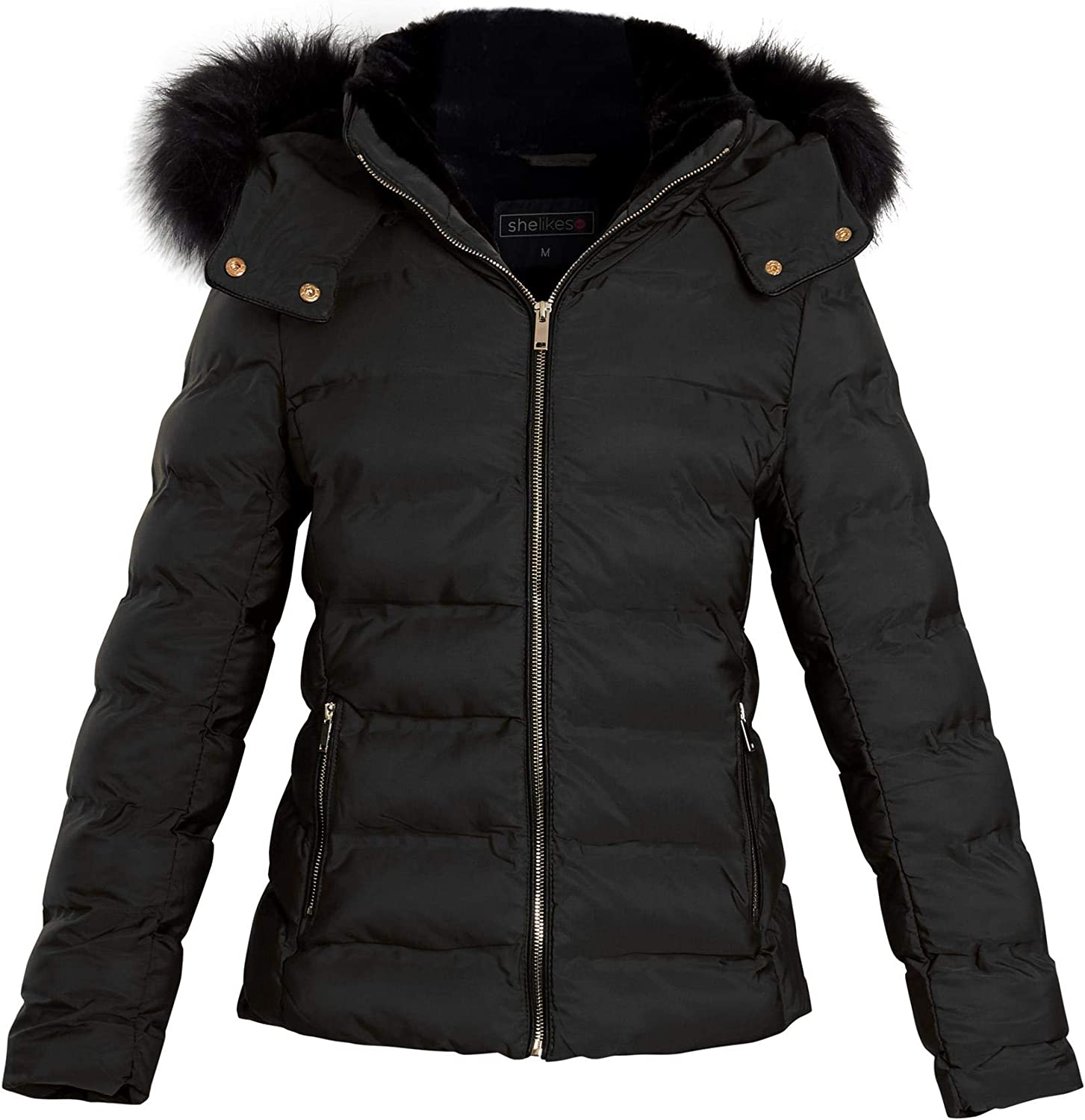 Shelikes Womens Ladies Quilted Faux Fur Hood Hooded Padded Winter Jacket Coat