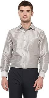 Khoday Williams Men's Poly Silk Solid Regular Fit Shirt