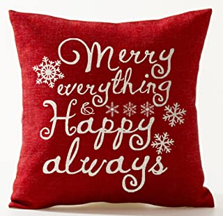 Winter Greetings Beautiful Snowflake Warm Sayings Merry Everything And Happy Always In Red Merry Christmas Gifts Cotton Li...