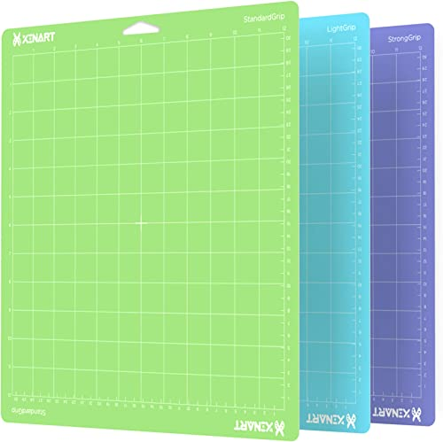 Xinart Cutting Mat for Cricut Maker/Explore Air 2/Air/One(12x12 Inch, 3 Mats, StandardGrip, LightGrip, StrongGrip) Mu...