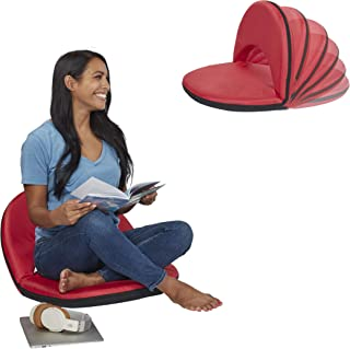 ECR4Kids Spectator Floor Chair with Adjustable Back Support | Portable Flexible Seating with 6 Backrest Positions | Indoor or Outdoor Classroom, Gaming, Meditation, Camping, Stadium Seat (Red)