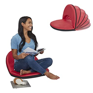 ECR4Kids Spectator Floor Chair with Adjustable Back Support - Portable Flexible Seating with 6 Backrest Positions - Indoor or Outdoor Classroom, Gaming, Meditation, Camping, Stadium Seat (Red)