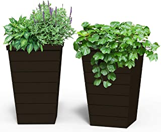 Keter 13.9 Gallon Resin Tapered Wood Panel Outdoor Planter, Set of 2, 15 in. W x 15 in. D x 22.5 in. H, Brown