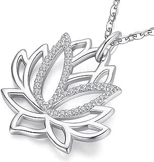 Flor de loto collar y colgante de plata esterlina con circonita plateada para mujeres y hombres, regalo del día de la madre