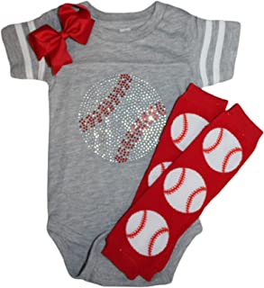 Rhinestone Baby Girls Baseball Team Color Sport Outfit with red Baseball Leg Warmers