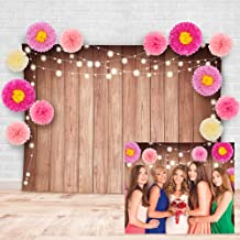Rustic Chic Floral Theme Soft Fabric Wood Photography Backdrop with Sweet Pink Flowers Studio Props Kit. Great as Photo Booth Background for Girls Birthday, Bridal and Baby Shower Party Decorations
