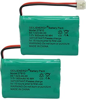 GEILIENERGY 27910 Cordless Phone Battery Rechargeable Compatible with Vtech 89-1323-00-00 at&T E1112 E2801 TL72108 Motorola SD-7501 RadioShack 23-959 Cordless Handsets 3.6V(Pack of 2)