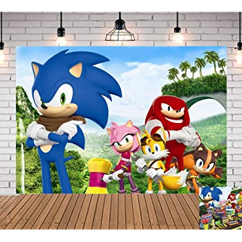 Amazon Com Tj Cartoon Sonic Boom Theme Photography Background Sonic The Hedgehog Kids Baby Shower Birthday Party Backdrops Cake Table Decoration Banner Chiedlen Newborn Photo Studio Booth Props 7x5ft Camera