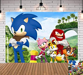 Sonic Hedgehog Photography Backdrop 7x5ft Newborn Baby Shower Palm Mountain Scenery Photo Background Baby Children Happy 1st Birthday Banner Decorations Party Supplies Vinyl Photo Booths Cake Table