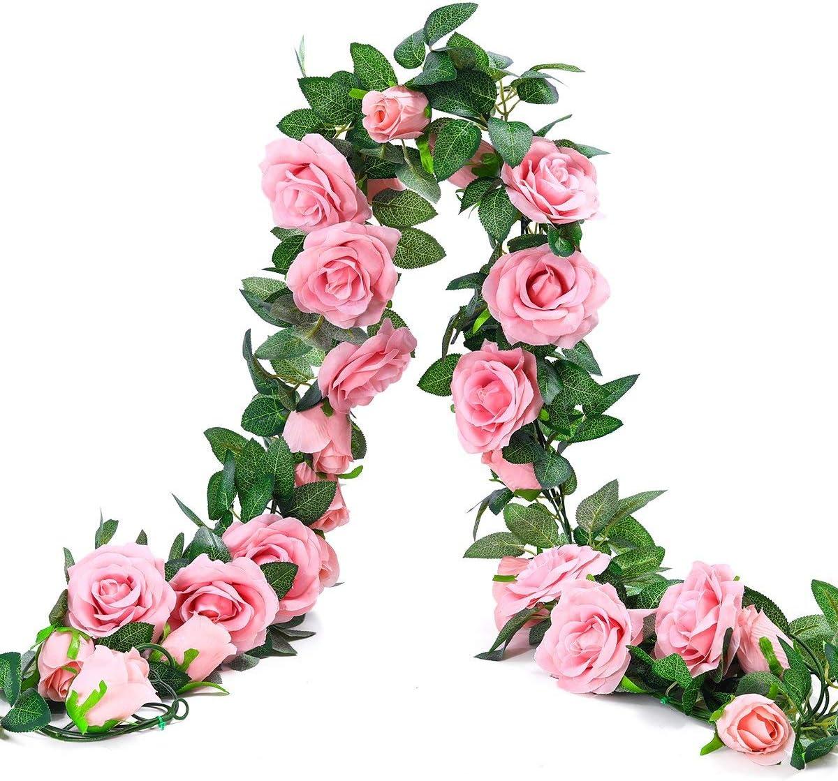 Künstlich Rosen Blumengirlande Kunstblumen Seidenblumen Blumen Rose Girlande Hängend Rebe für Zuhause Wand Hochzeit Bogen Anordnung Dekoration (2…
