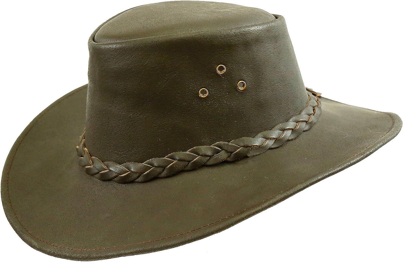 Kakadu Traders Murray - Sombrero de piel marrón con ala curvada y cinta trenzada para hombre y mujer, talla 2 a elegir