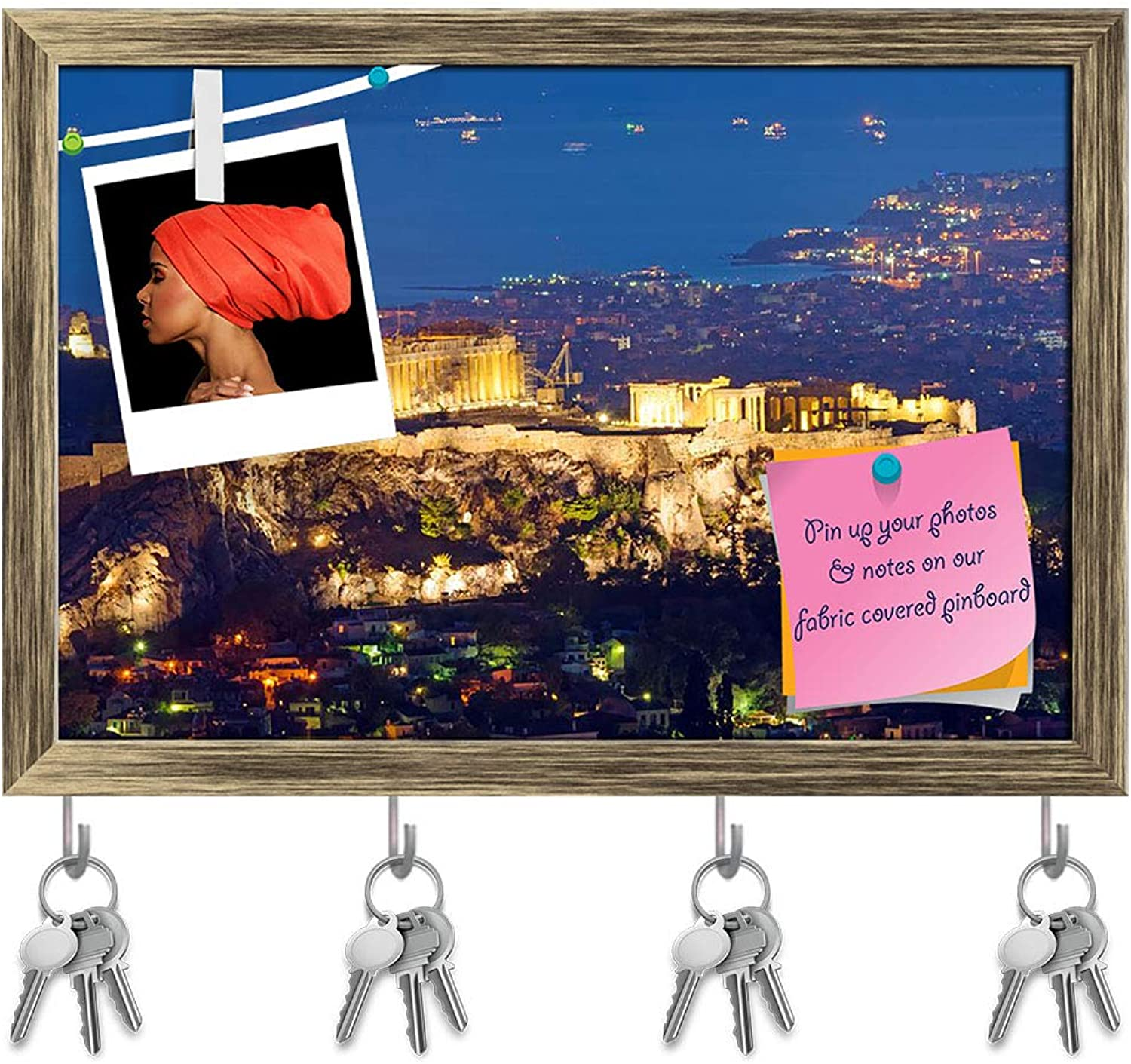 Artzfolio The Acropolis at Night Key Holder Hooks   Notice Pin Board   Antique golden Frame 17.5 X 12Inch