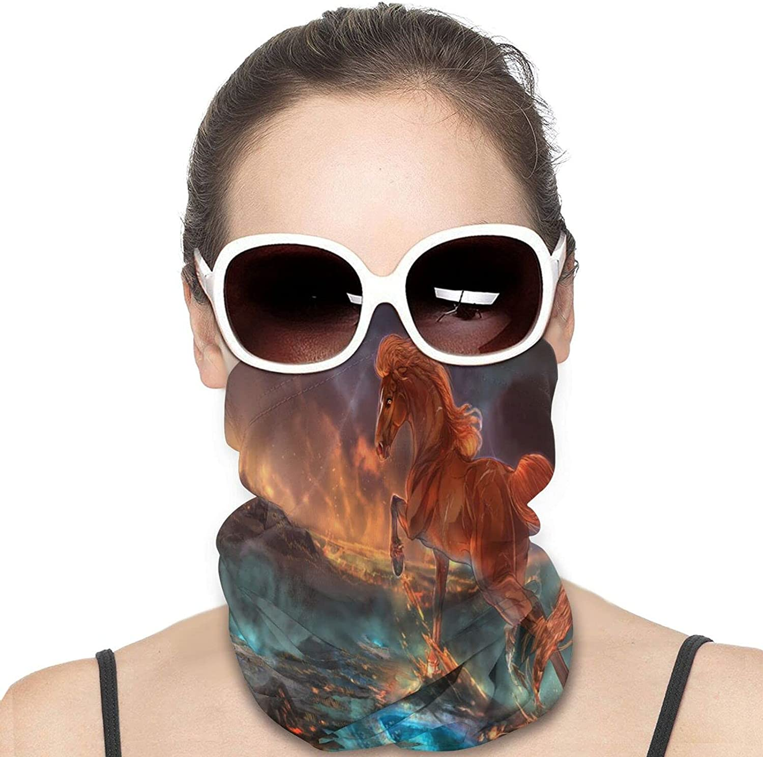 Fantasy Flower Horse Round Neck Gaiter Bandnas Face Cover Uv Protection Prevent bask in Ice Scarf Headbands Perfect for Motorcycle Cycling Running Festival Raves Outdoors